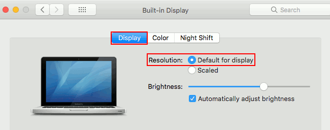 Screen resolution setting in macOS on the Apple Mac