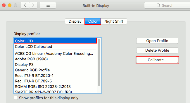 Screen display colour profiles in macOS on the Apple Mac