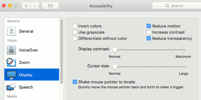 The accessibility settings for the display in macOS on the Apple Mac