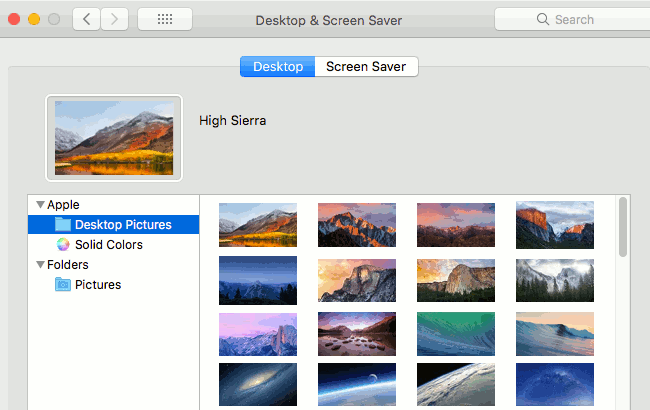 Select the desktop wallpaper image in macOS on the Apple Mac