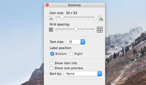 The view settings for the desktop in macOS on the Apple Mac