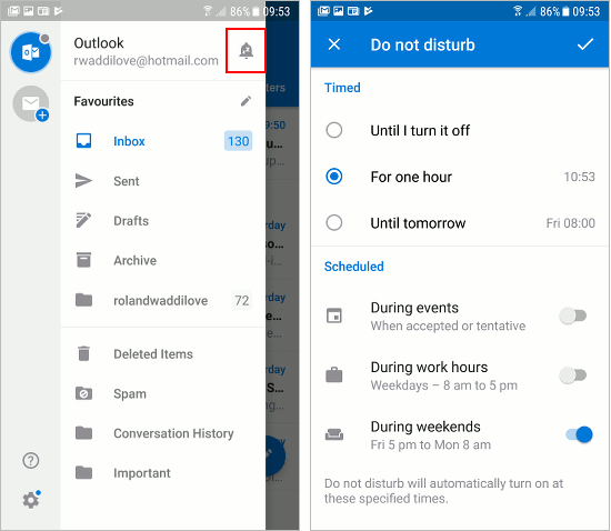 How to customise notifications in Outlook email Android app