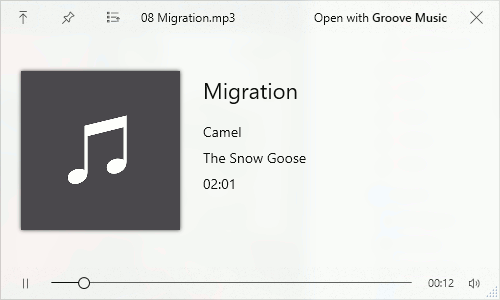 Previewing a music file using QuickLook for Windows