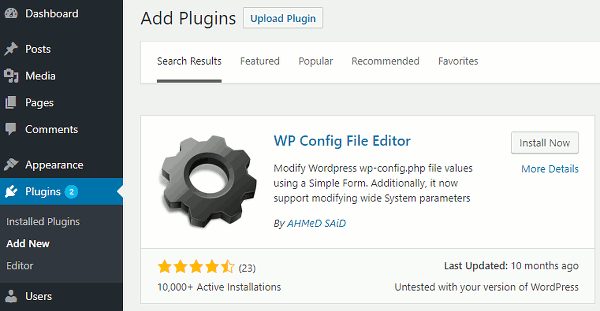 WordPress Config File Editor plugin