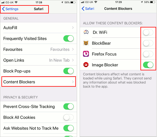 Enable content blockers in Safari setting son the iPhone