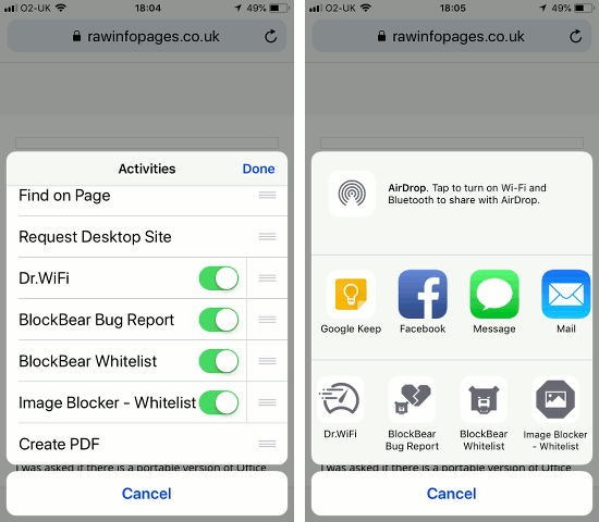 Ad content blockers to Actions menu in Safari on the iPhone