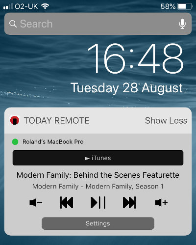 The TodayRemote app on the iPhone controlling iTunes on the Mac