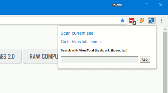 VirusTotal Chrome extension drop-down menu