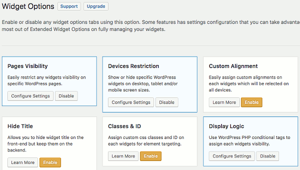 Enable or disable components in the Widget Options WordPress plugin