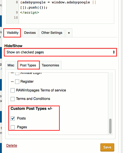 Show or hide widgets with the WordPress Widget Options plugin
