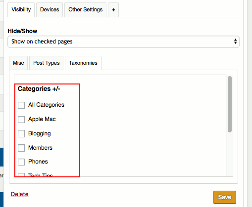 Only show widgets on specific categories of WordPress posts with Widget Options