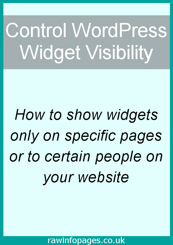 Only show WordPress widgets on certain pages or to certain people. Control widget visibility.