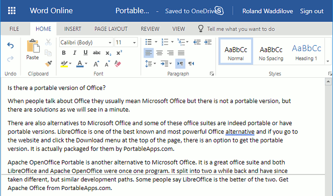 Word Web app at the onedrive.com website