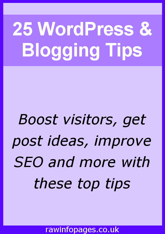 A great collection of tips to help you improve your blog or website, boost SEO, increase visitors and visibility