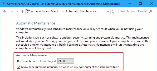 Choose when Windows automatically runs maintenance tasks