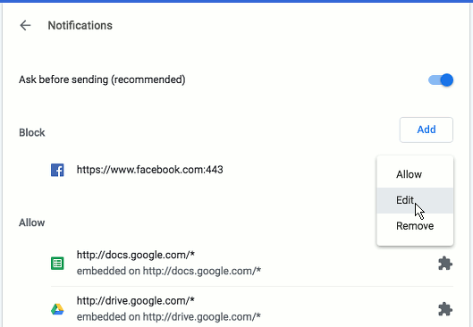 Enable or disable notifications in Chrome