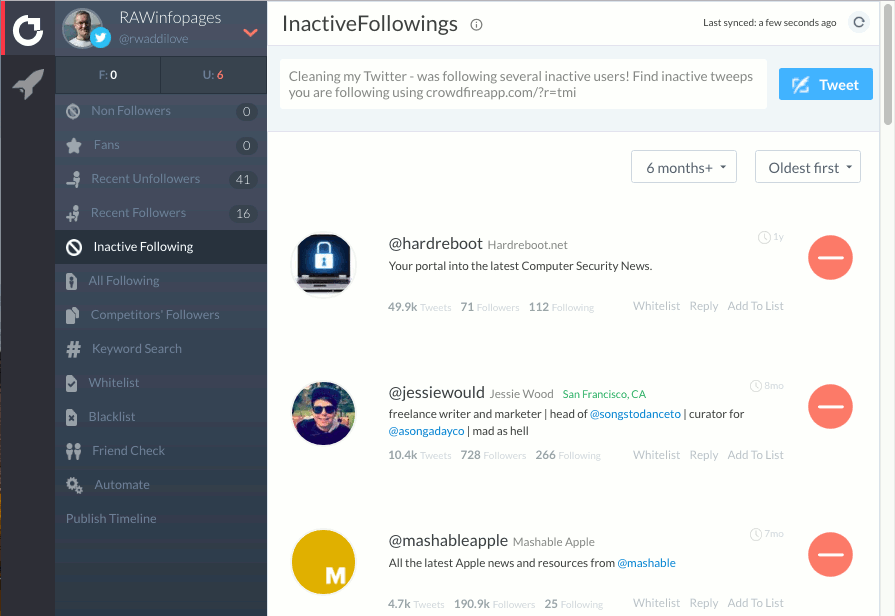 Find and delete inactive followers on Twitter using Crowdfire
