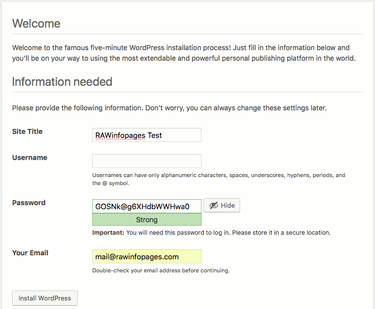 WordPress installation form