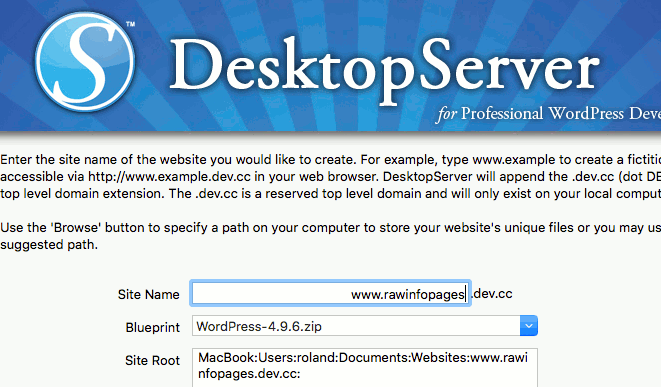 Creating a website using DesktopServer software on the Apple Mac