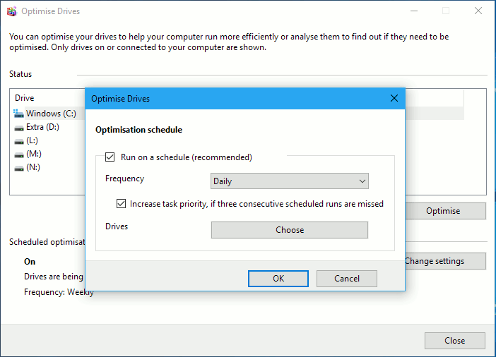Windows Disk defragmenter settings