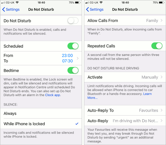 Do Not Disturb settings on the iPhone