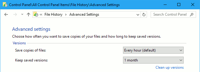 Configure Windows File History backup service in the Control Panel