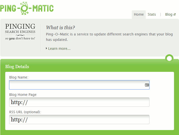 Ping-o-Matic website notifies search engines of website updates