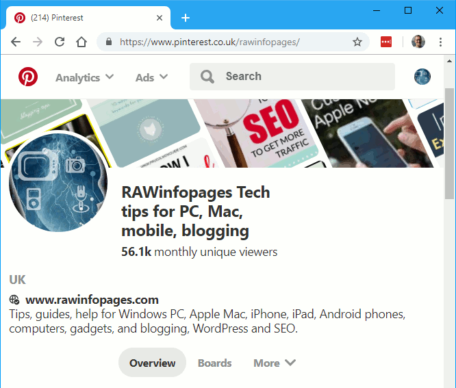 Pinterest website in Chrome browser