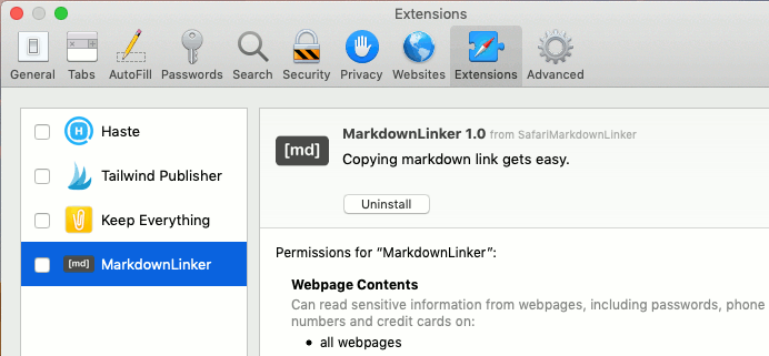 Browser extensions in Safari preferences on the Apple Mac
