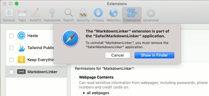 Uninstalling Safari extensions on the Apple Mac