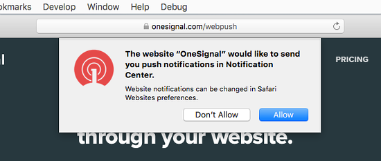 A website asking permission to show notifications in Safari on the Apple Mac