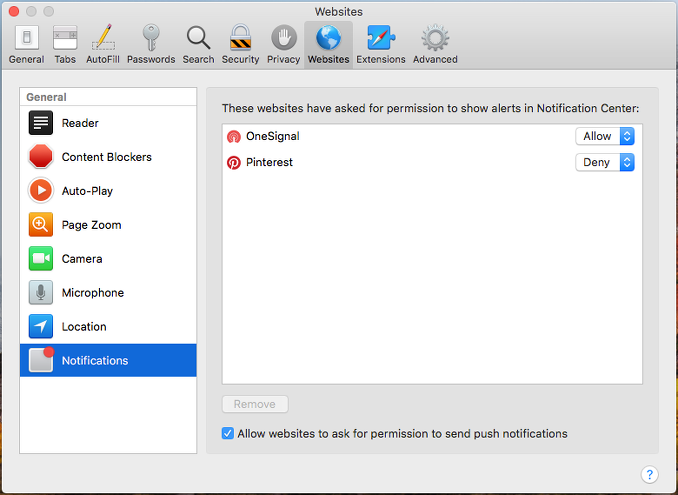 Enable or disable notifications in Safari on the Apple Mac