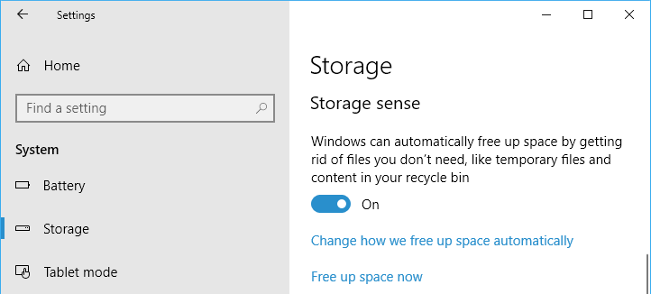 Windows 10 Storage Sense cleans up the disk automatically