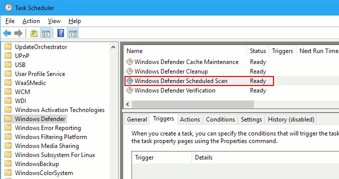 Windows Task Scheduler showing scheduled tasks for Windows Defender