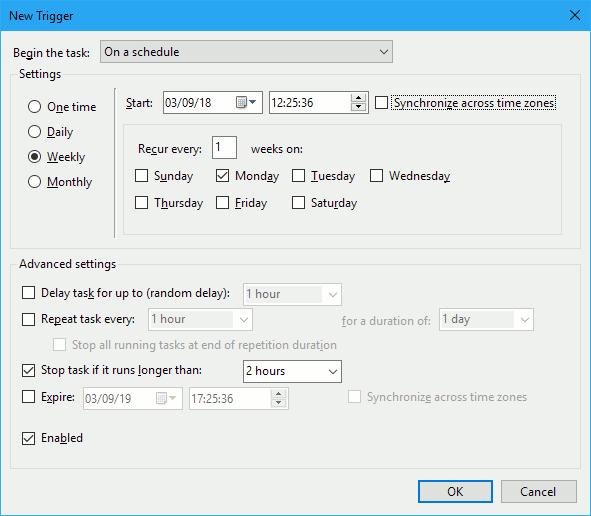 Create a new task to run Windows Defender scans in Windows Task Scheduler