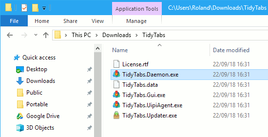 TidyTabs in an Explorer window on the Windows desktop