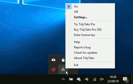 TidyTabs software on the Windows desktop