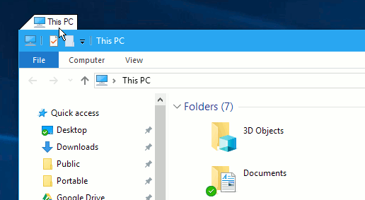 TidyTabs tab in Windows Explorer