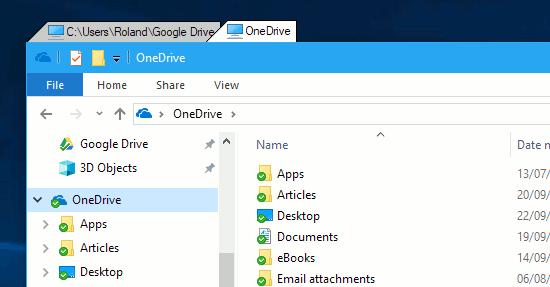 Explorer windows on tabs on the Windows desktop using TidyTabs