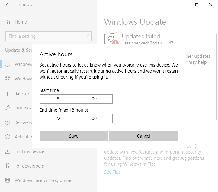 Windows Update active hours determines when Windows can install updates