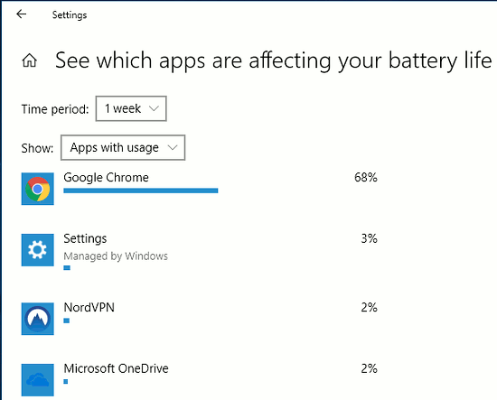 Windows 10 Settings app showing battery usage