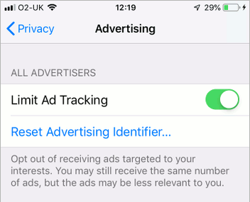 Advertising privacy settings in iOS 12 on the iPhone