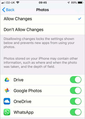 Prevent apps changing access settings in iOS 12 on the iPhone