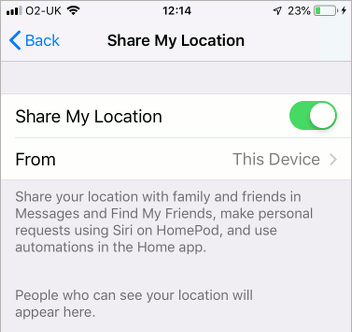 Share your location in iOS 12 on the iPhone