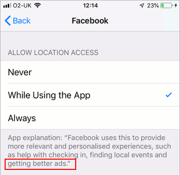 Location settings in iOS 12 on the iPhone