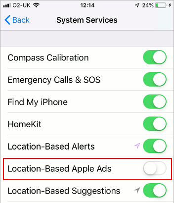 System services using location tracking in iOS 12 on the iPhone
