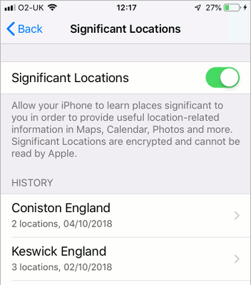 Significant locations stored in iOS 12 on the iPhone