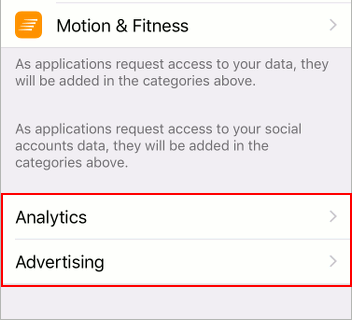 Advertising and analytics privacy settings in iOS 12 on the iPhone
