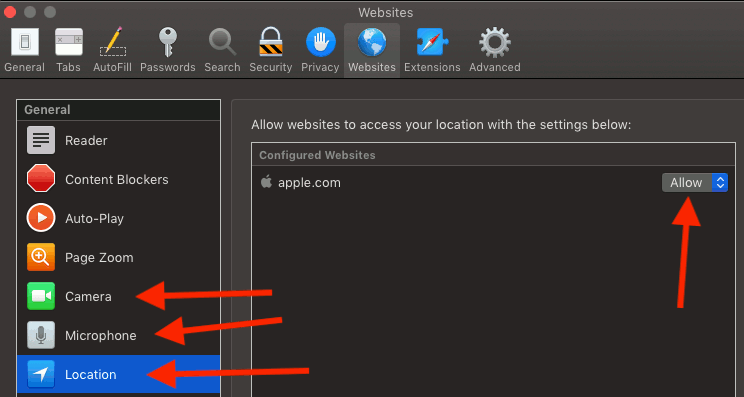 Safari browser privacy settings in macOS on the Apple Mac