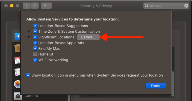 Location privacy settings in System Preferences in macOS on the Apple Mac